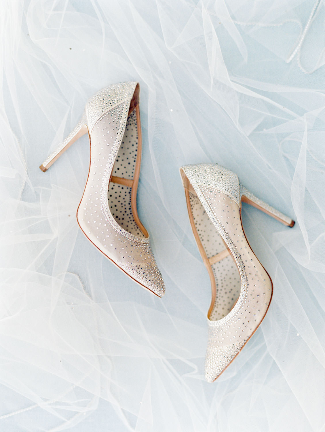 Taupe pointed toe pumps for the bride, styled with her veil, Del Mar Country Club Wedding by Cavin Elizabeth Photography