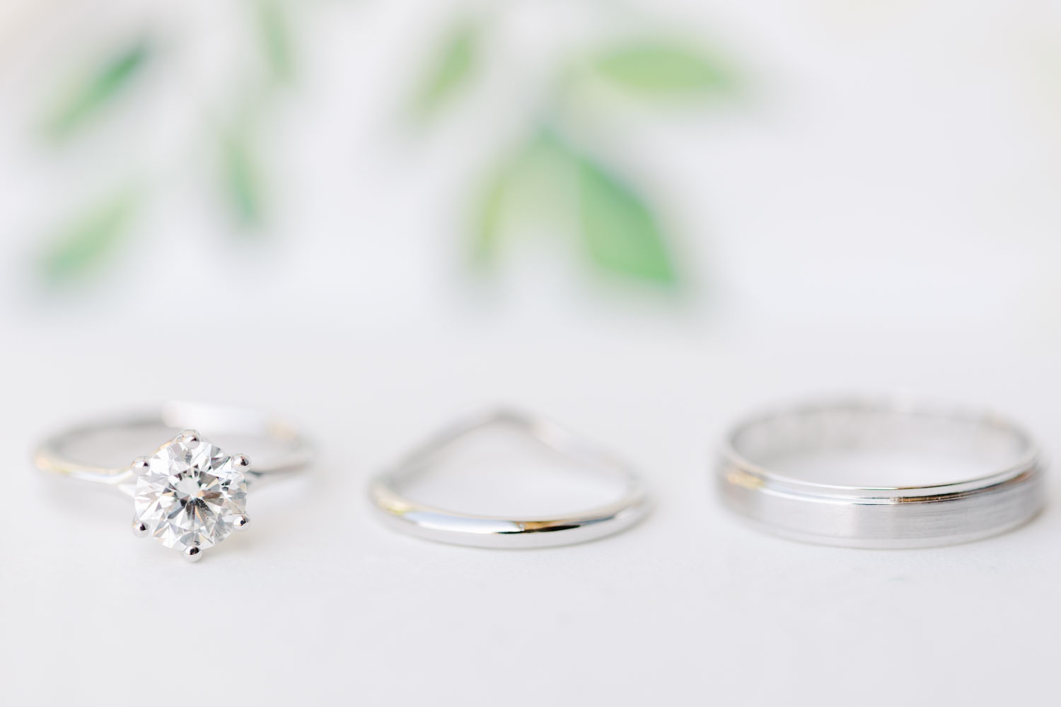 Platinum wedding band set with engagement ring featuring a solitaire diamond, Del Mar Country Club Wedding by Cavin Elizabeth Photography