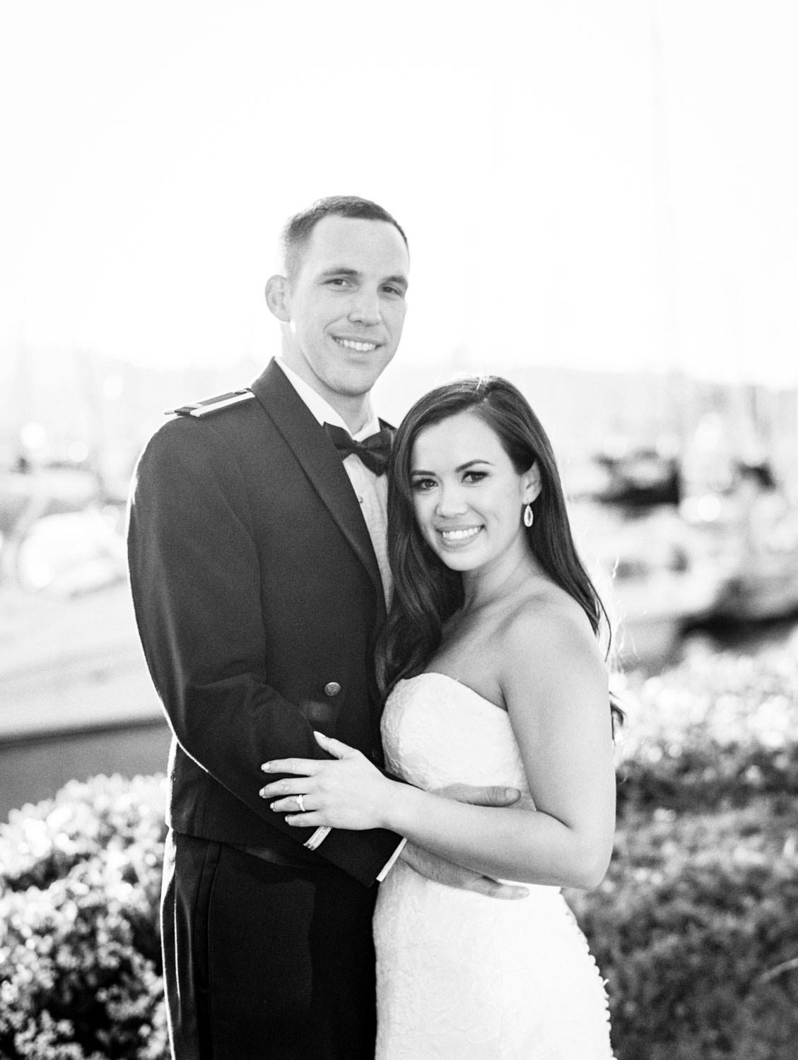Black and white classic bride and groom portrait during sunset captured on film. Wedding at Humphreys Half Moon Inn by Cavin Elizabeth Photography