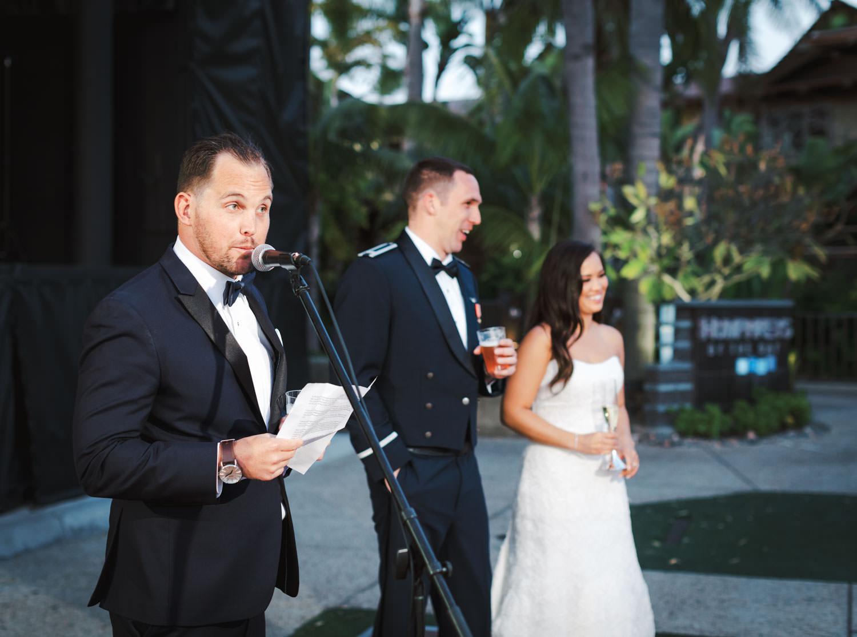 Best man toast during wedding reception at Humphreys Half Moon Inn by Cavin Elizabeth Photography