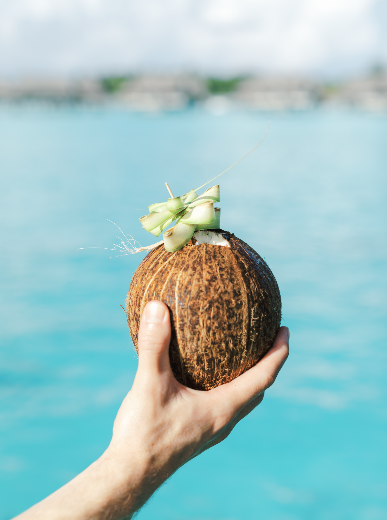 Coconut cocktail in a real coconut in Bora Bora