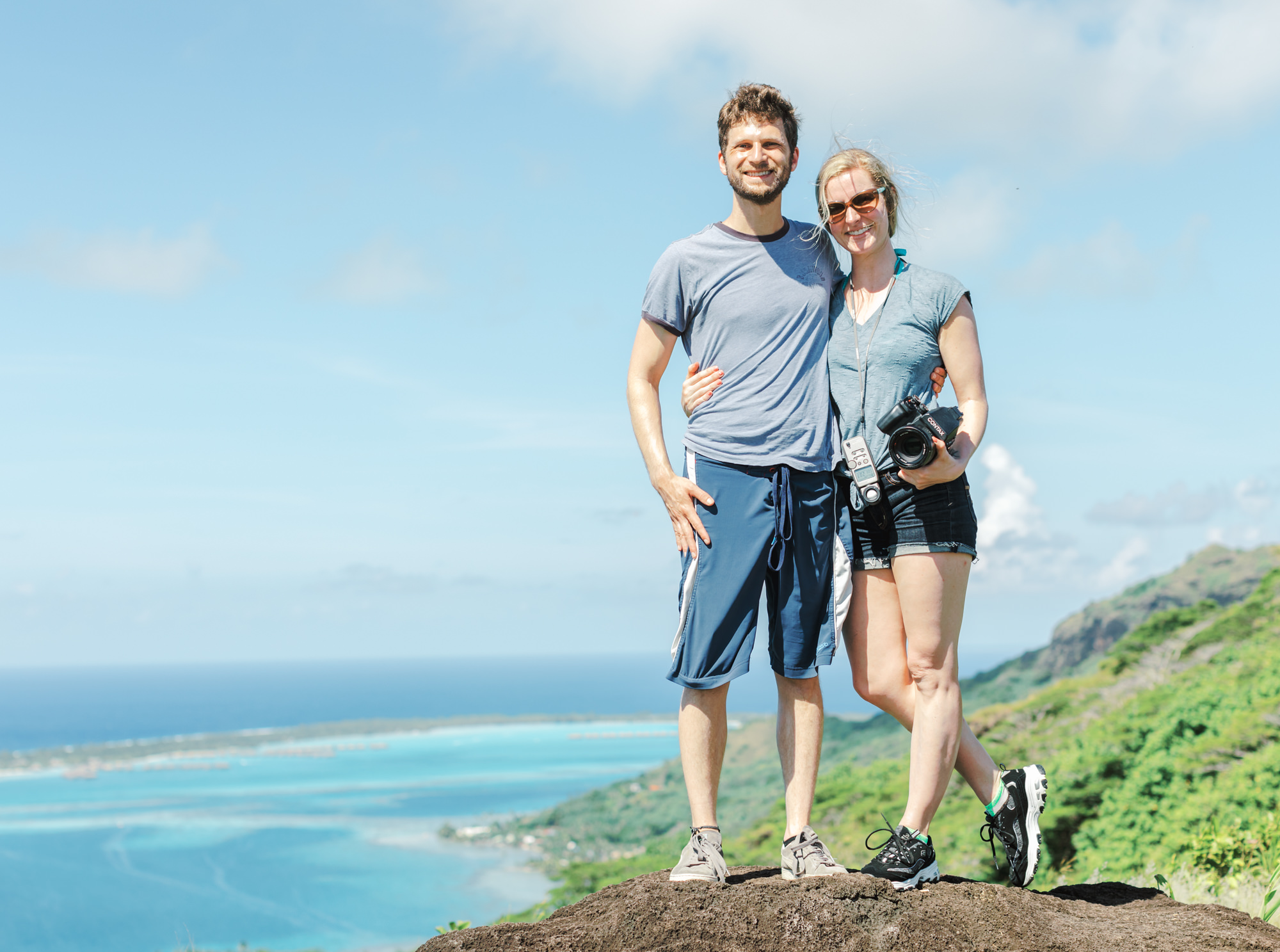 Bora Bora ATV Tour for our honeymoon on top of a mountain with the entire island waters in the background
