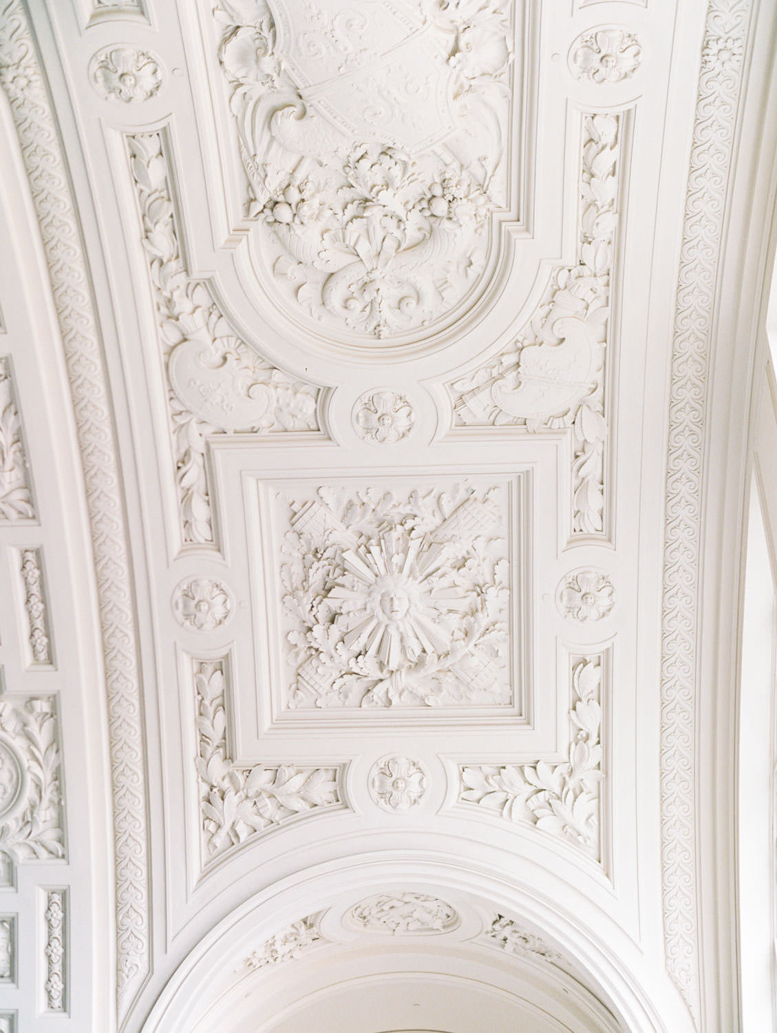 Ceiling architecture. Engagement Photos on film at San Francisco City Hall by Cavin Elizabeth