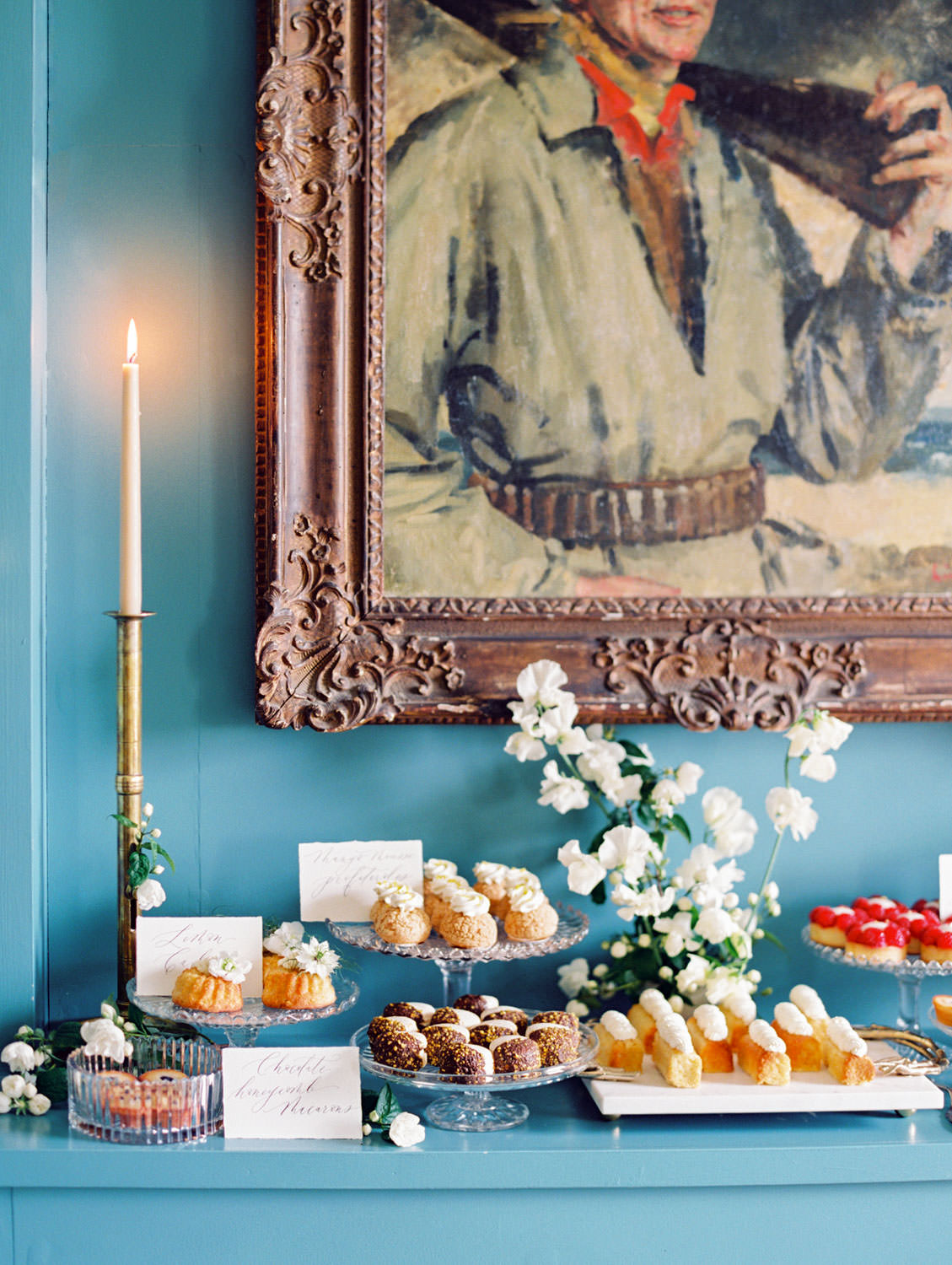 MonAnnie desserts styled by Joy Proctor. Flutter Magazine Retreat in the Cotswolds at Norton Hall in Mickleton, England. Photo by Cavin Elizabeth Photography on film
