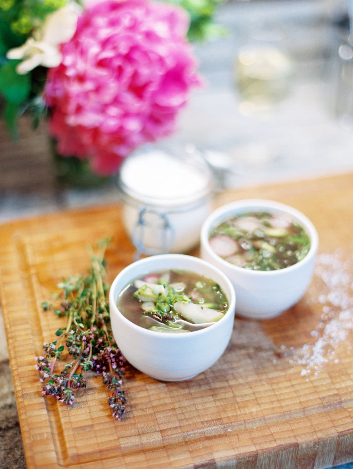Daylesford Farm vegetable soup styled with fresh thyme. Flutter Magazine Retreat in the Cotswolds, England. Photo by Cavin Elizabeth Photography on film