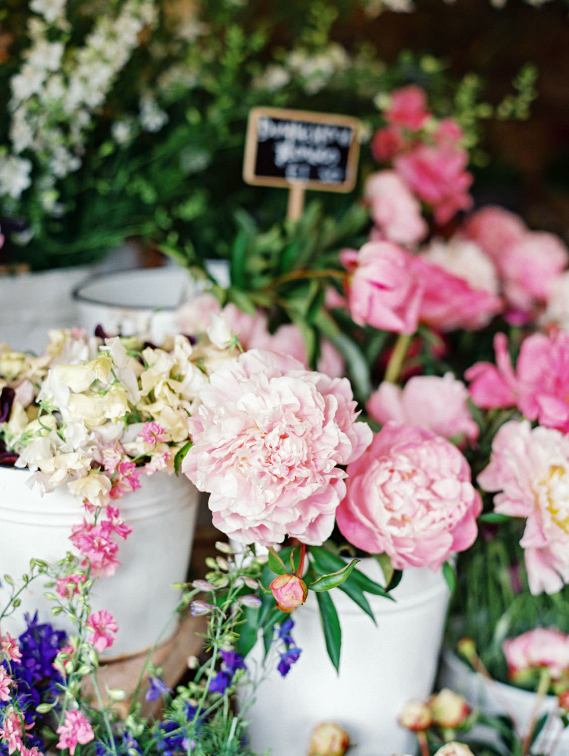 Daylesford Farm flower shop display. Photo by Cavin Elizabeth Photography on film