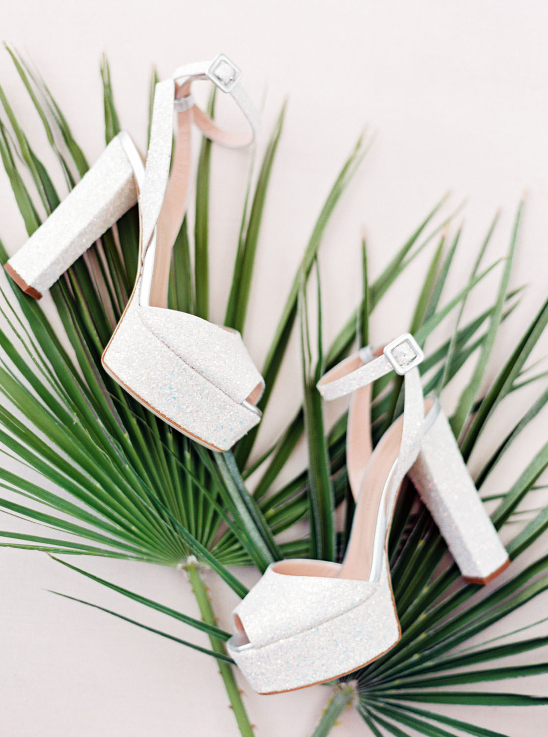 White glitter platform Giuseppe Zanotti wedding pumps with peep toe on top of fan leaves. Cavin Elizabeth Photography