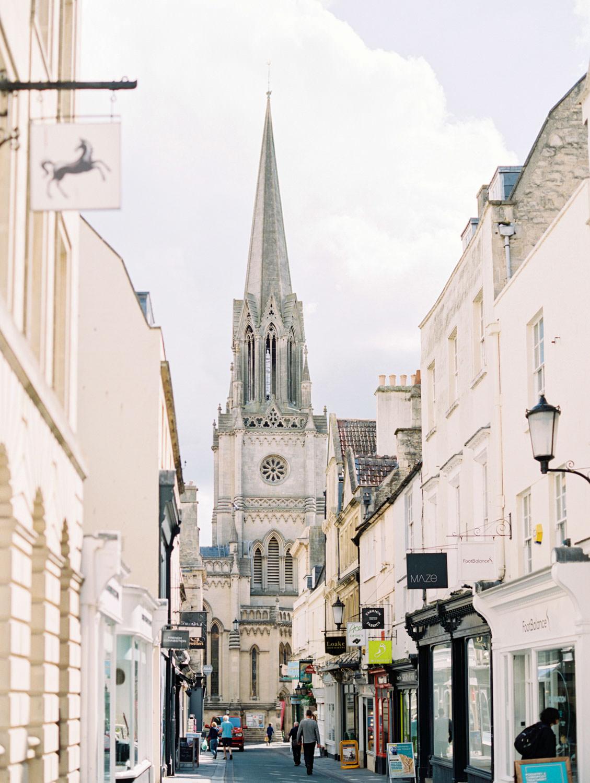 Street with church steeple view in Bath England, Cavin Elizabeth Photography