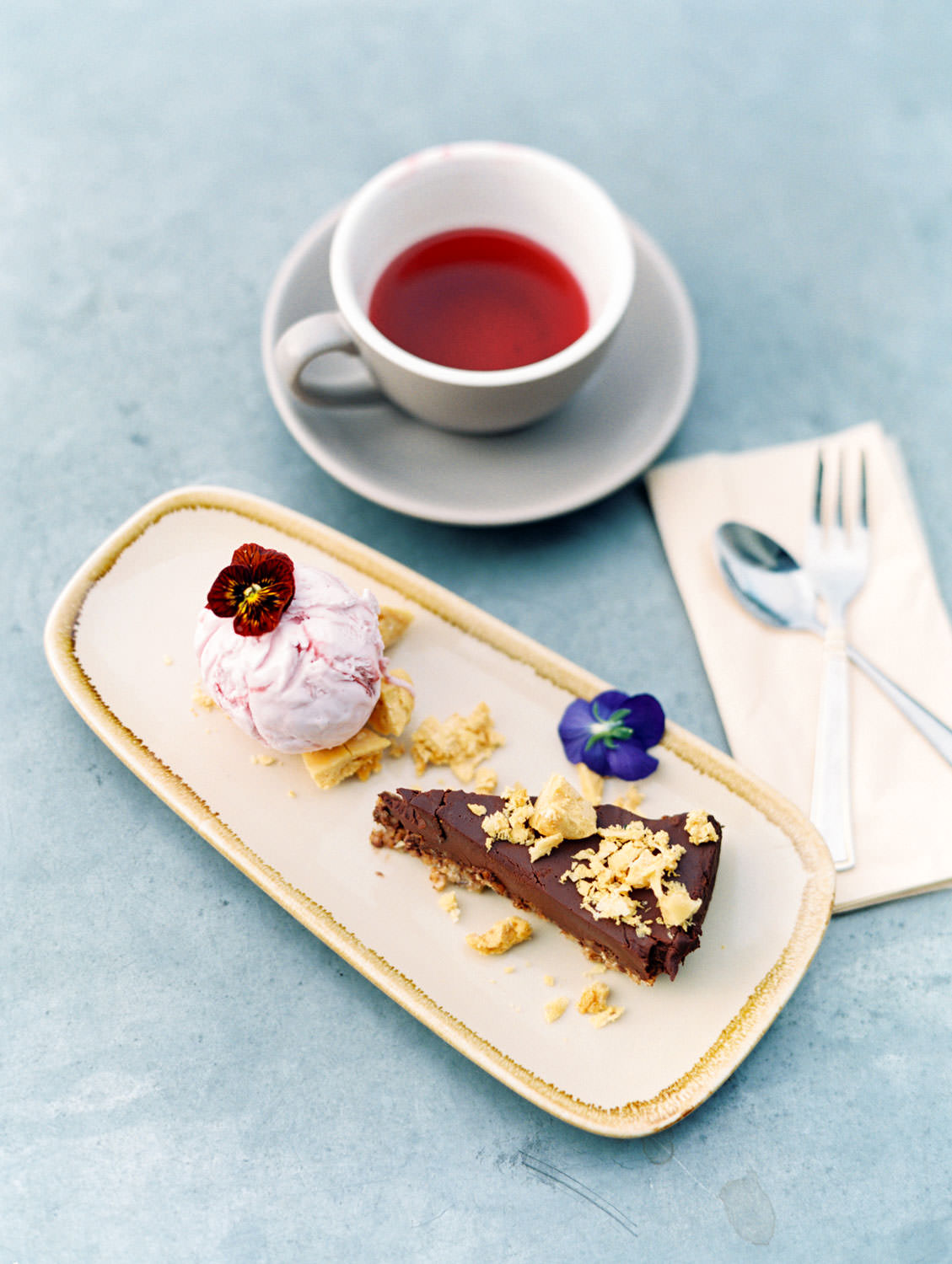 Chocolate torte – Served with honeycomb and ice cream from The Green Rocket in Bath England, Cavin Elizabeth Photography