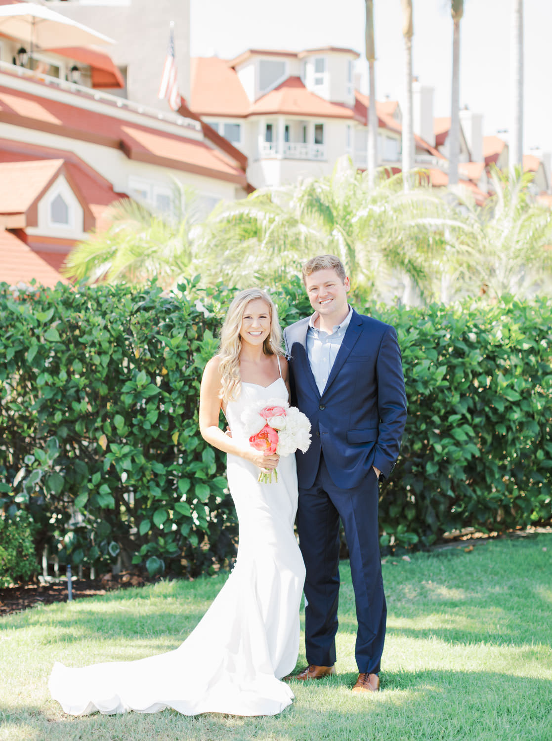 Portrait of the bride and groom smiling at the camera, Elopement on Coronado Island by Cavin Elizabeth