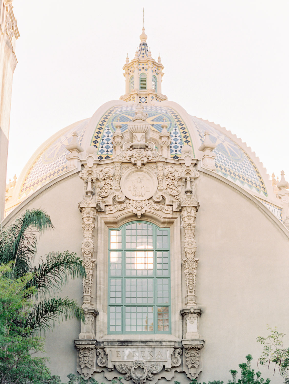 Engagement photos at Balboa Park bell tower, film photographer Cavin Elizabeth in San Diego