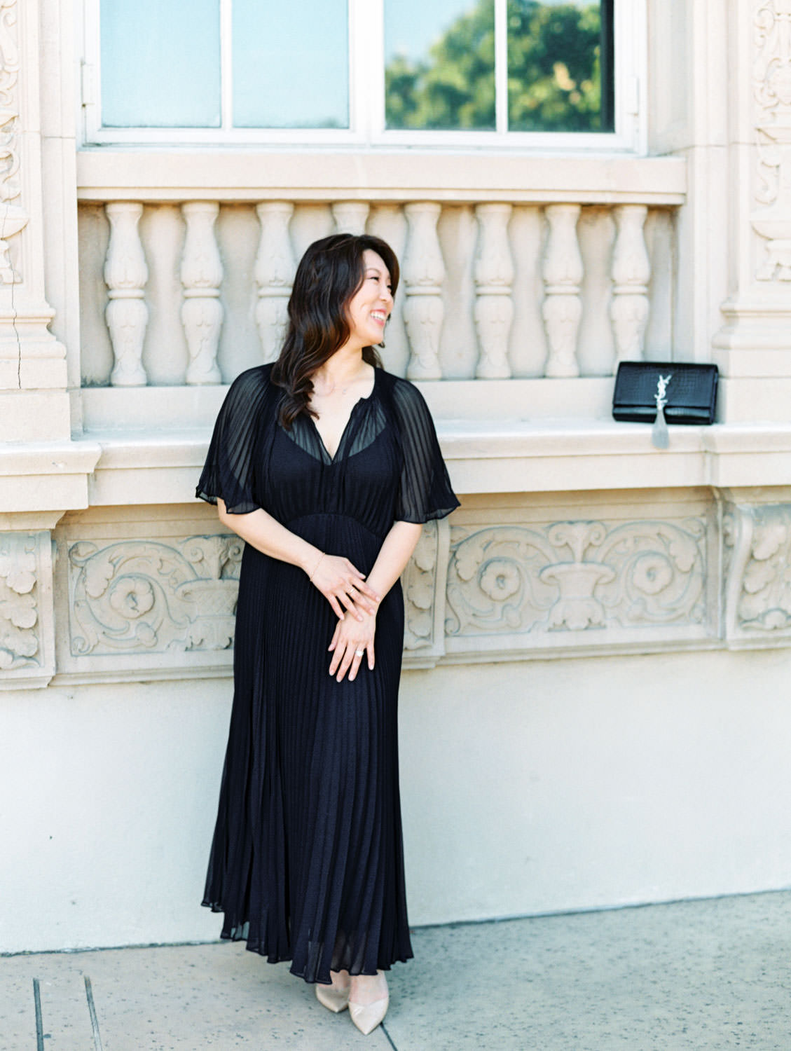 Engagement photos at Balboa Park with bride in black dress, film photographer Cavin Elizabeth in San Diego