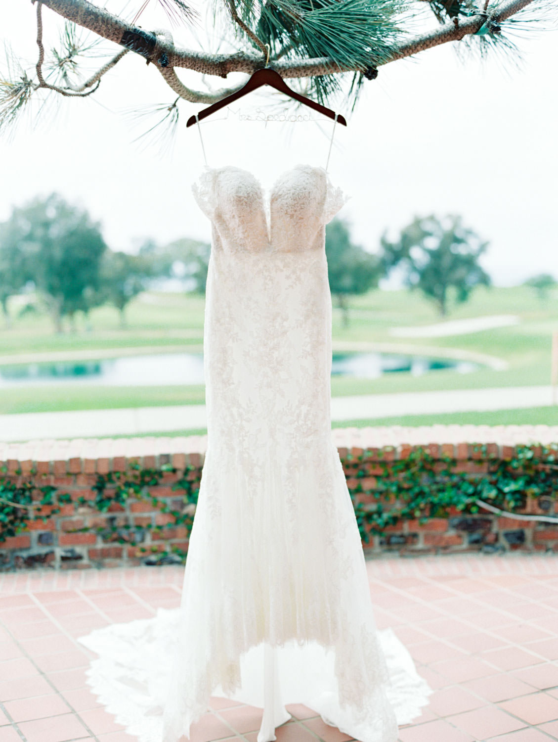 Pronovias sweetheart neckline lace gown with removable sleeves, film photography by Cavin Elizabeth Photography
