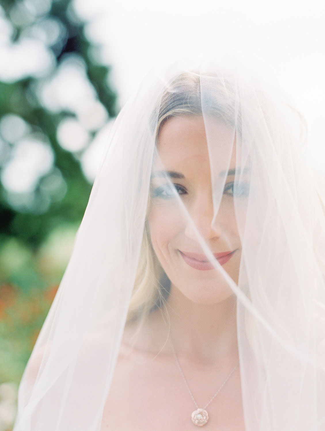 Bride under her veil, fine art bridal portrait, Lodge at Torrey Pines wedding, film photography by Cavin Elizabeth Photography