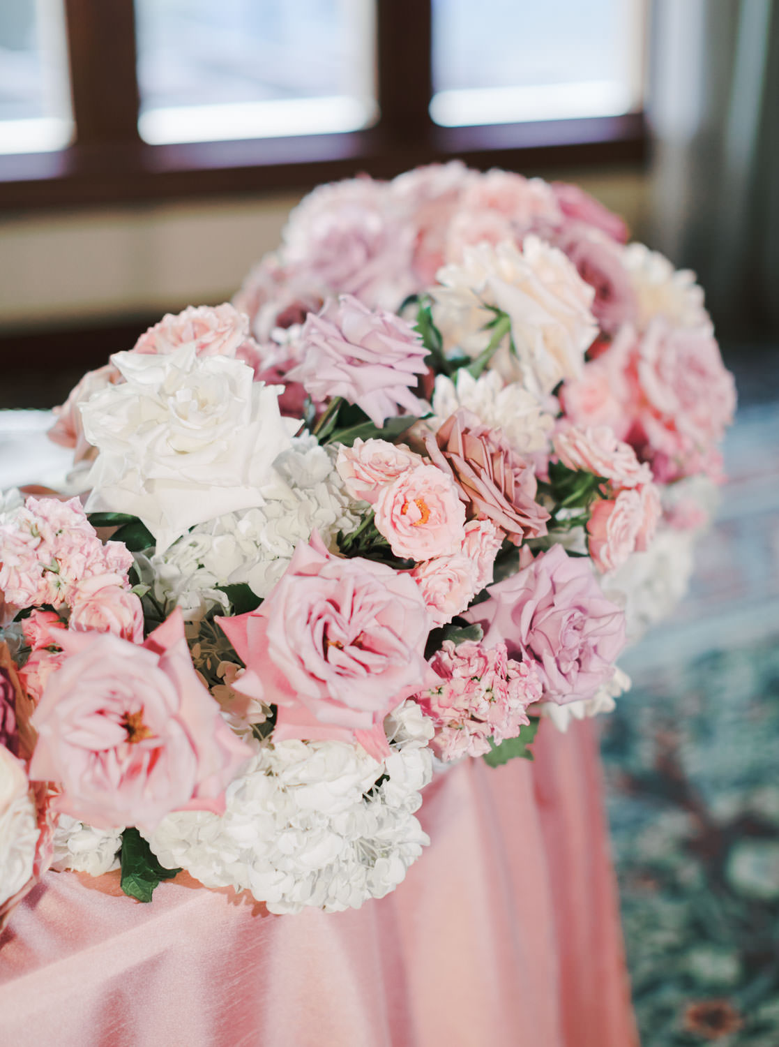 Ballroom wedding centerpieces with pink, lavender, and white flowers, The Lodge at Torrey Pines wedding, photography by Cavin Elizabeth Photography