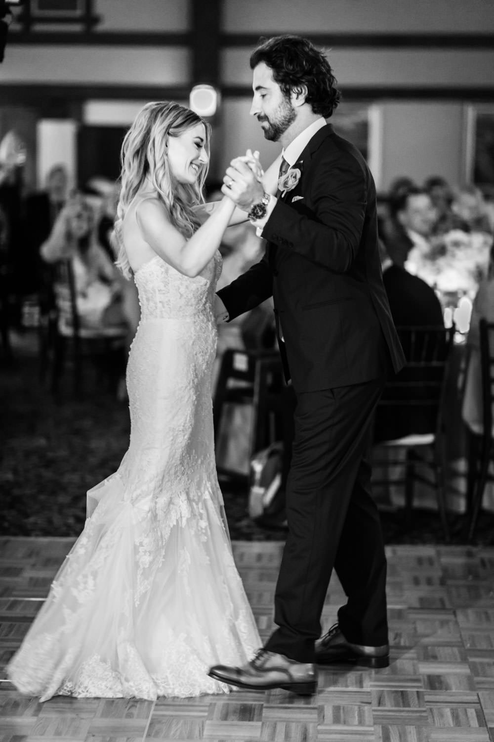 Ballroom first dance of bride and groom, The Lodge at Torrey Pines wedding, photography by Cavin Elizabeth Photography