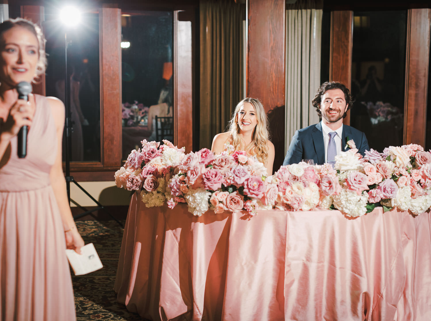 Toast reactions of bride and groom, The Lodge at Torrey Pines wedding, photography by Cavin Elizabeth Photography