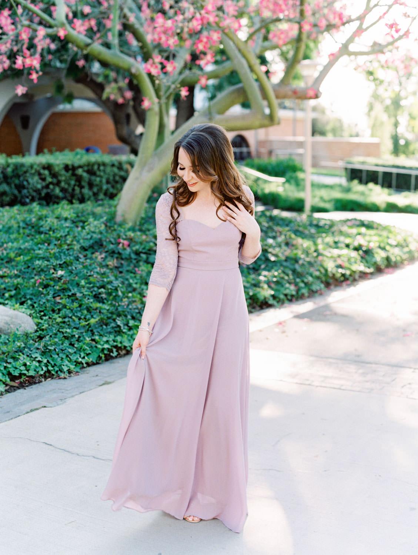 UC Riverside Engagement Photos. Bride in long blush lavender dress. Film photographer Cavin Elizabeth Photography.