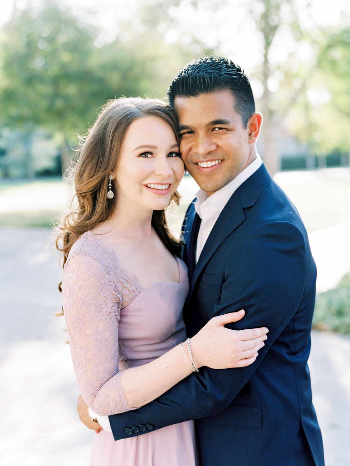 UC Riverside Engagement session. Bride in long blush lavender dress and groom in navy suit. Film photographer Cavin Elizabeth Photography.