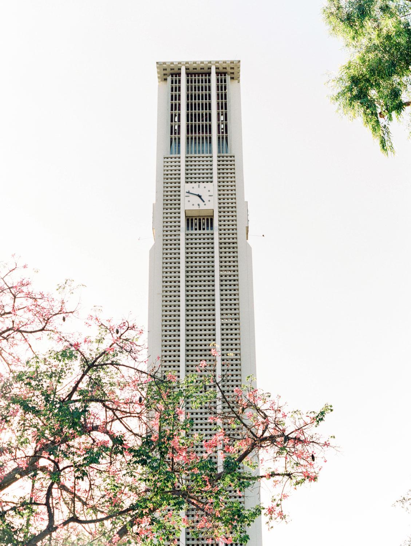 UC Riverside clock tower. Film photographer Cavin Elizabeth Photography.