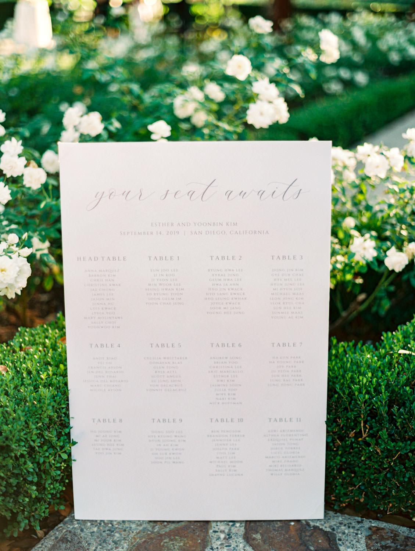 Blush seating chart with calligraphy. Wedding at Rancho Bernardo Inn. Film photo by Cavin Elizabeth Photography