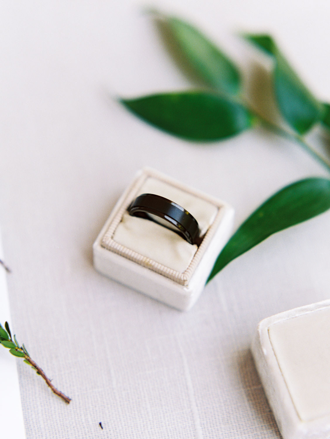 Grooms black wedding band in an ivory Mrs Box velvet ring box styled with greenery. Film photo by Cavin Elizabeth Photography