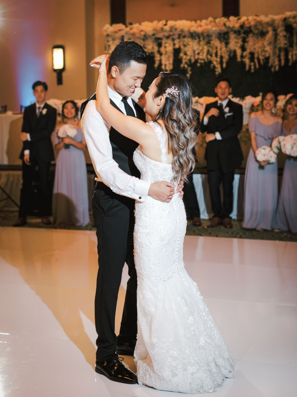 Bride and groom first dance. Wedding at Rancho Bernardo Inn in the Aragon Ballroom. photo by Cavin Elizabeth Photography