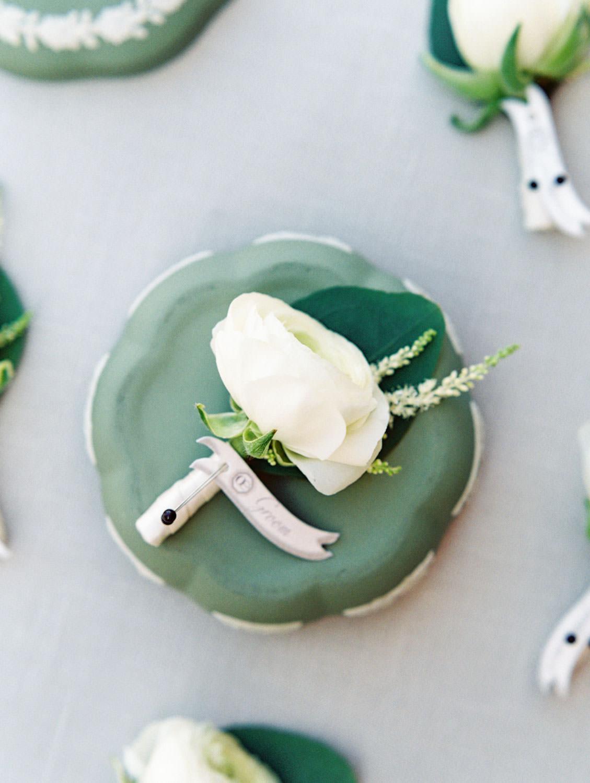 White single rose boutonniere with greenery and ivory wrap. Estancia La Jolla wedding shot on film by Cavin Elizabeth Photography. La Jolla wedding shot on film by Cavin Elizabeth Photography