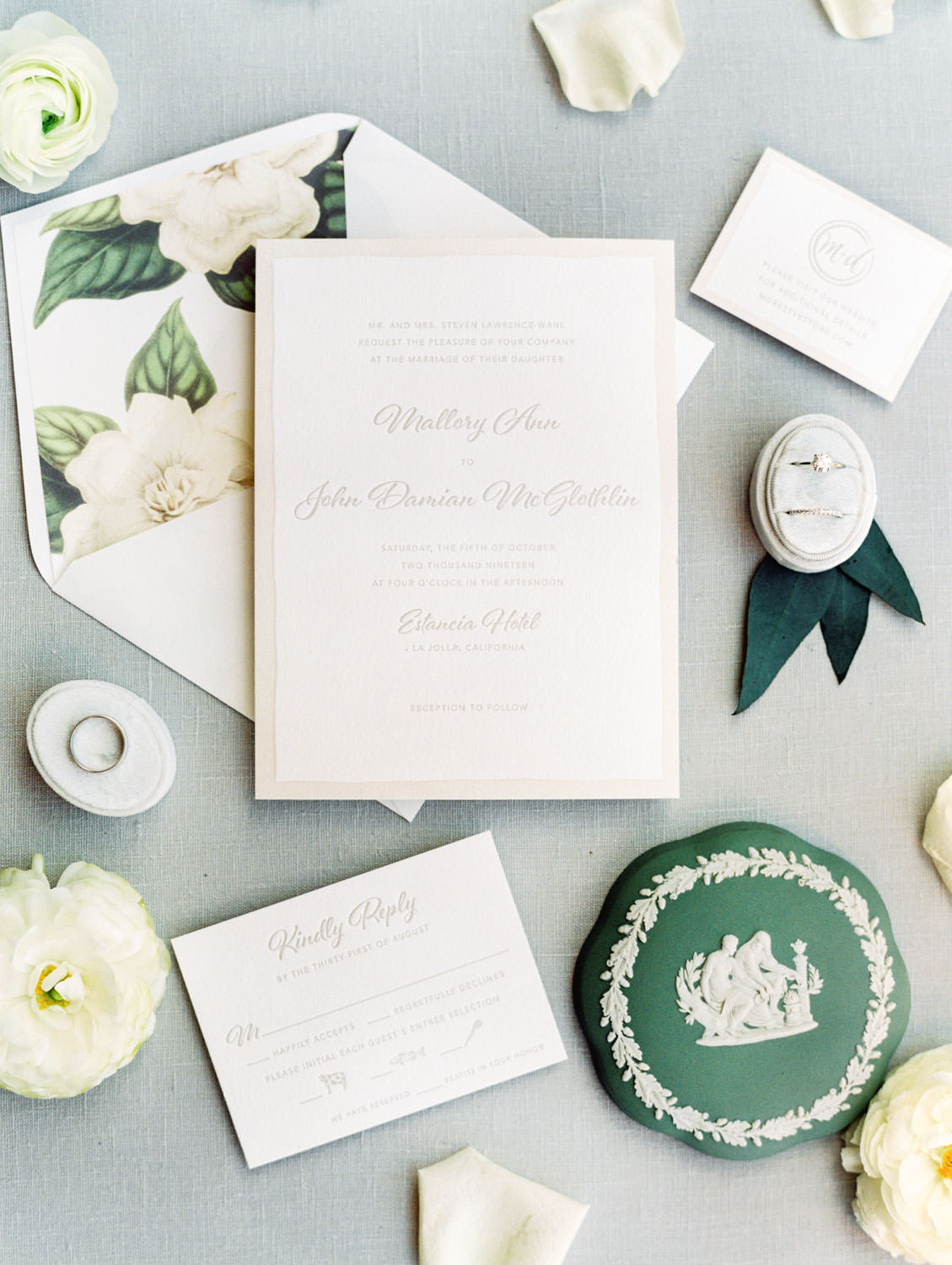 Ivory and cream invitation letterpress suite. White flower with greenery envelope liner styled with flowers. Estancia La Jolla wedding shot on film by Cavin Elizabeth Photography
