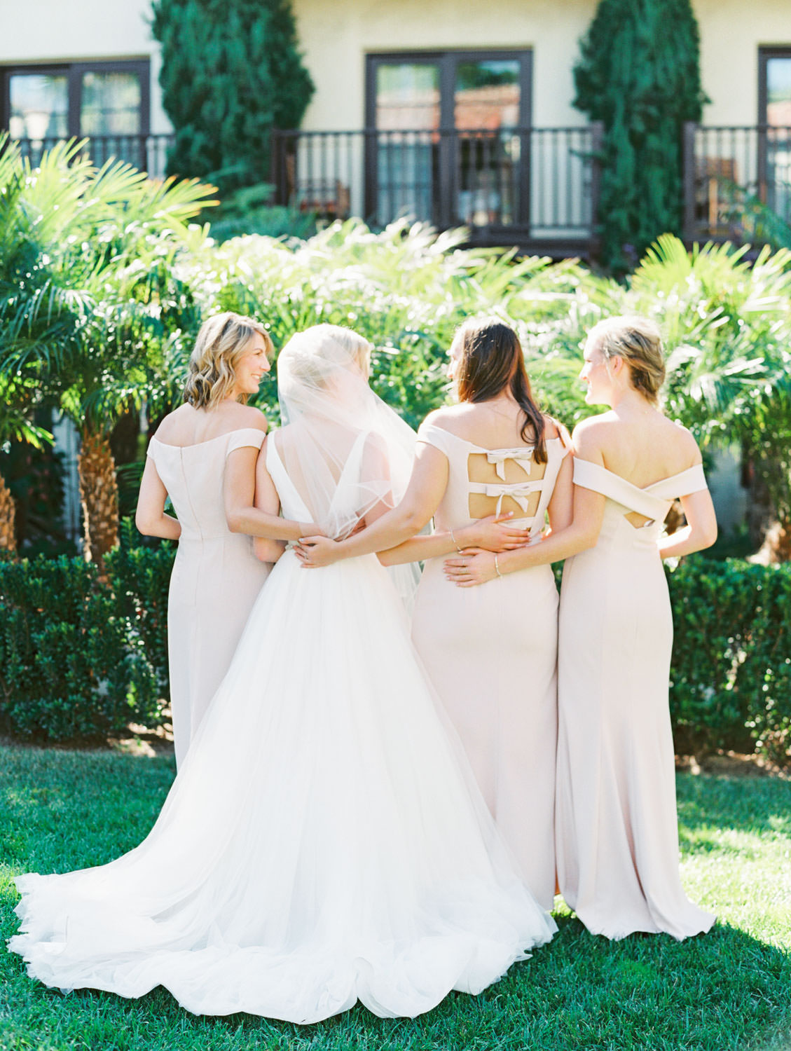 Bridal party portrait with blush gowns from the back. Bride in Stella York gown with dahlia and rose ivory bouquet with silver dollar eucalyptus. La Jolla wedding shot on film by Cavin Elizabeth Photography
