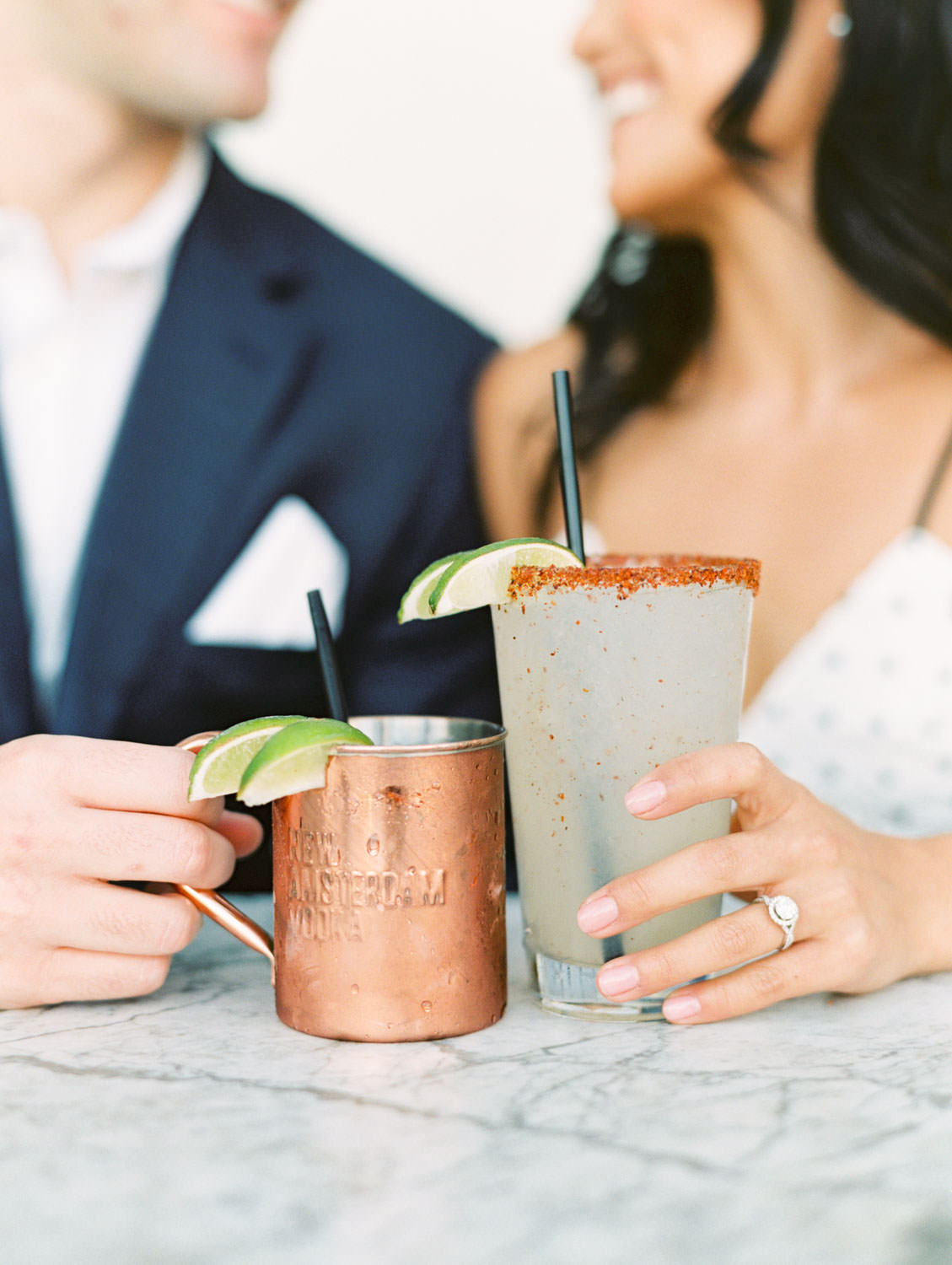 Spicy margarita and a mule in a copper mug. Fairweather Rooftop Bar Engagement Photos on film by Cavin Elizabeth Photography