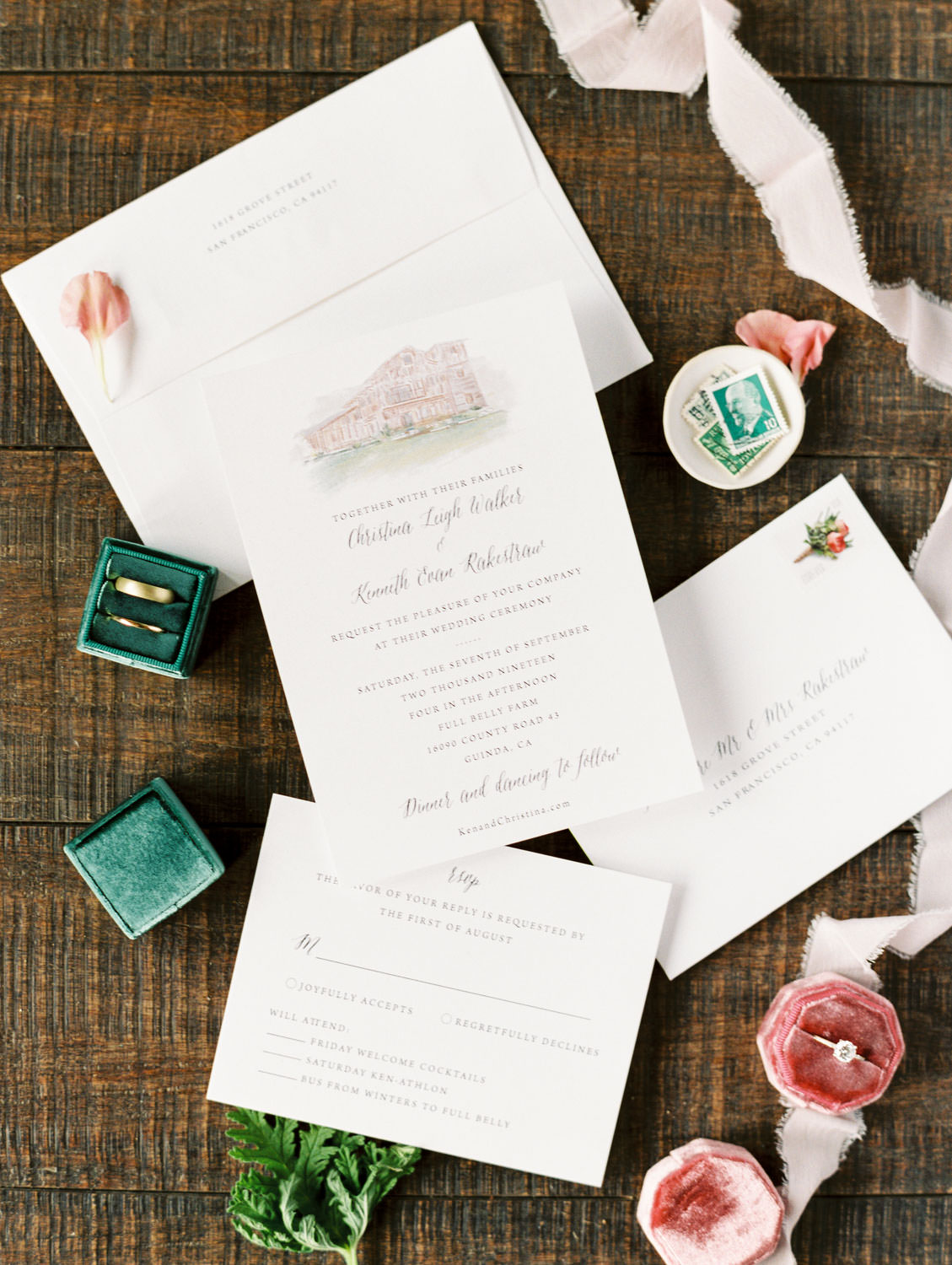 Ivory organic stationery with venue illustration styled with green and pink ring boxes. Full Belly Farm on Martha Stewart Weddings by Cavin Elizabeth Photography
