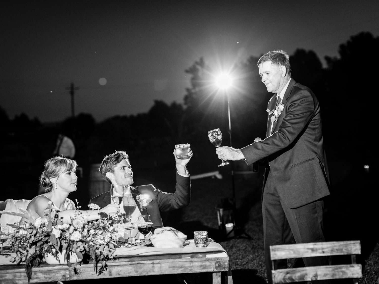 Father of the bride giving a toast. Full Belly Farm reception by film photographer Cavin Elizabeth Photography