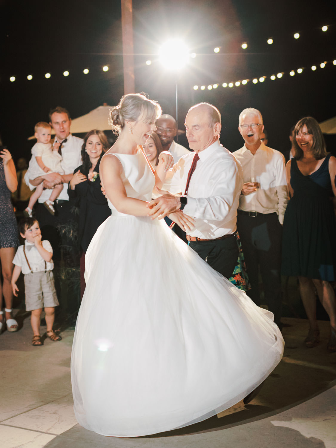 Father daughter dance. Full Belly Farm reception by film photographer Cavin Elizabeth Photography