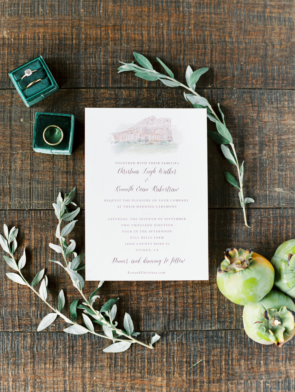 Ivory organic stationery with venue illustration styled with green Ellington Mrs Box ring boxes. Full Belly Farm on Martha Stewart Weddings by Cavin Elizabeth Photography