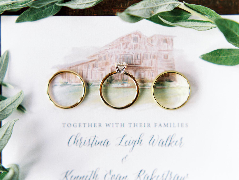 Ivory organic stationery with venue illustration styled with wedding rings on film. Full Belly Farm on Martha Stewart Weddings by Cavin Elizabeth Photography