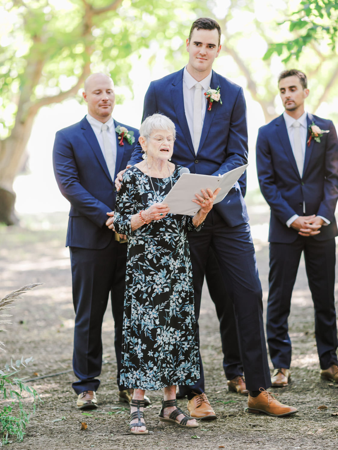 Grandmother of the groom speaking during a Full Belly Farm ceremony on Martha Stewart Weddings by film photographer Cavin Elizabeth Photography