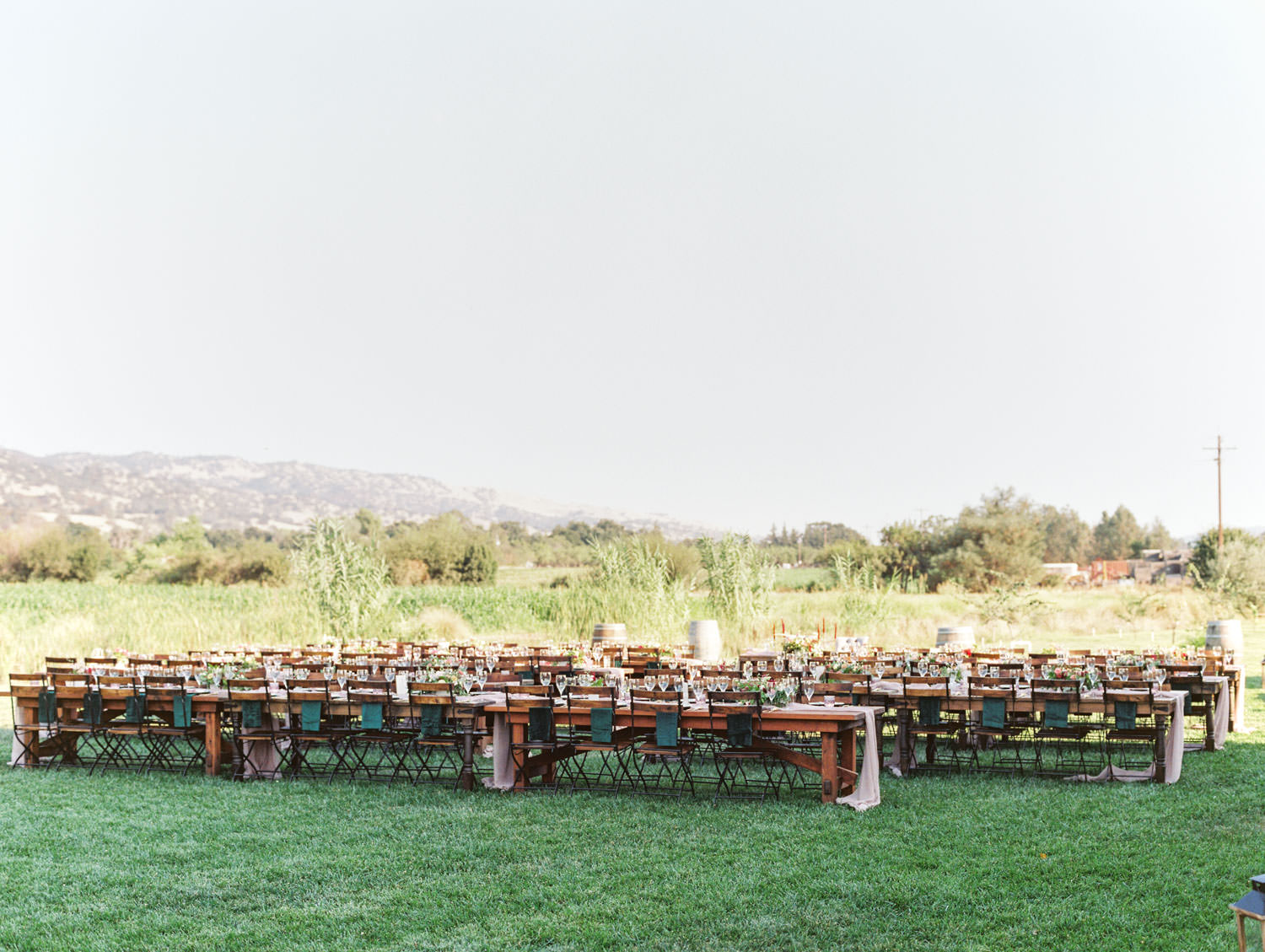 Al fresco reception with wooden tables and blush chiffon runners. Bistro style chairs. Mountain view. Full Belly Farm reception by film photographer Cavin Elizabeth Photography