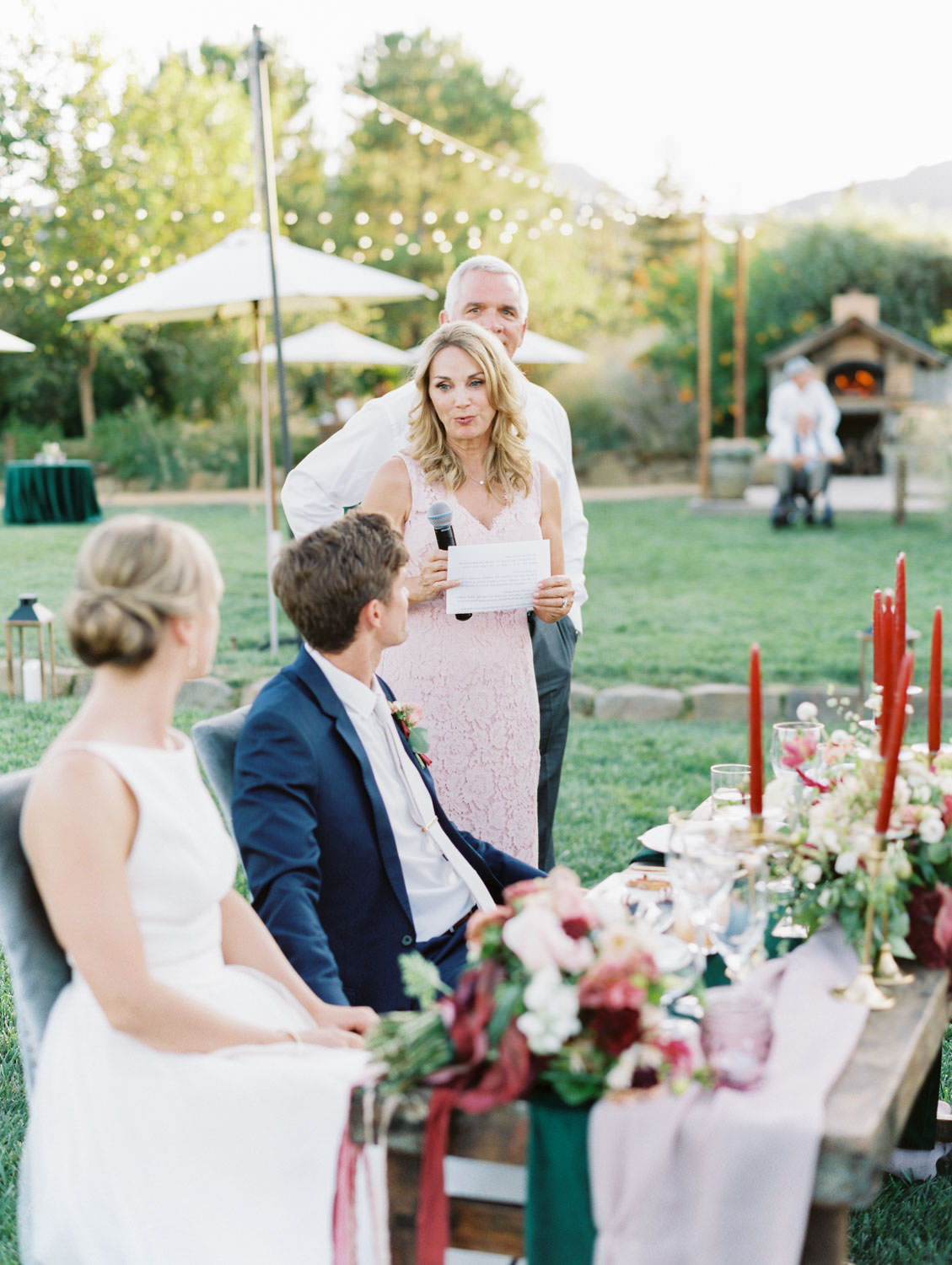Mother of the bride toast. Full Belly Farm reception by film photographer Cavin Elizabeth Photography