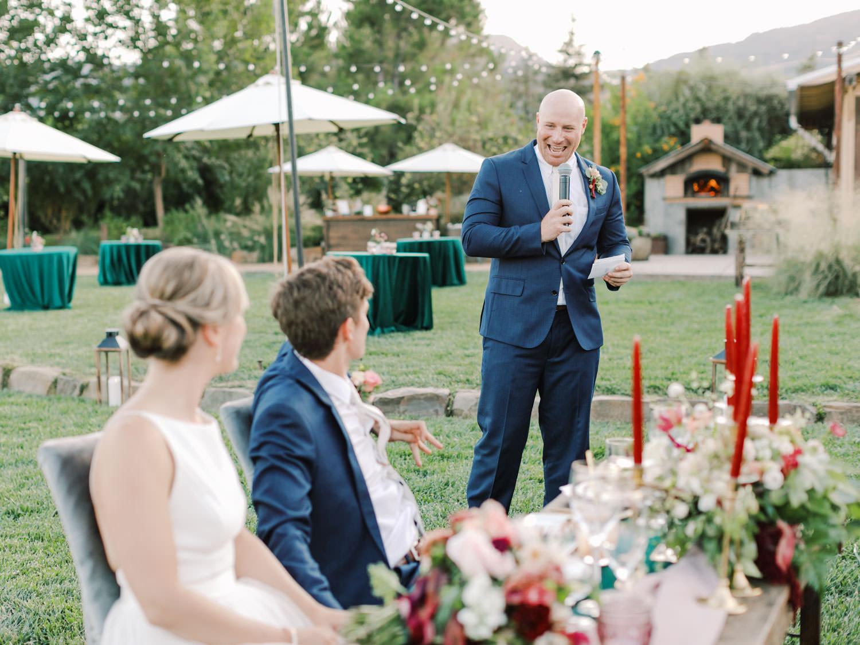 Best man toast. Full Belly Farm reception by film photographer Cavin Elizabeth Photography