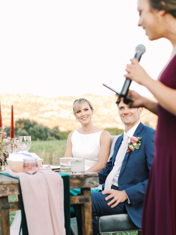 Maid of honor toast. Full Belly Farm reception by film photographer Cavin Elizabeth Photography