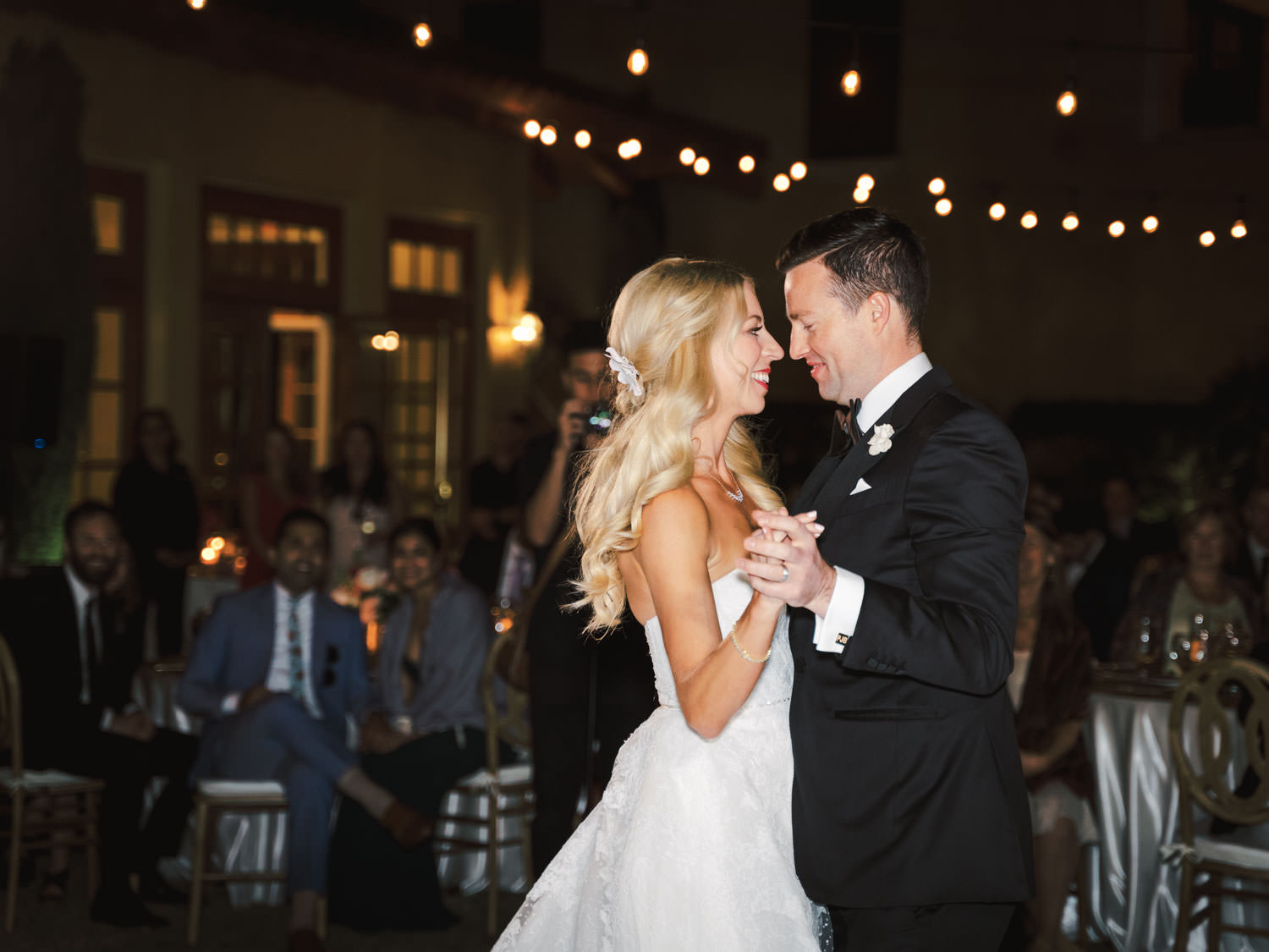 Bride and groom first dance. Miramonte Resort wedding reception. Photography by Cavin Elizabeth.