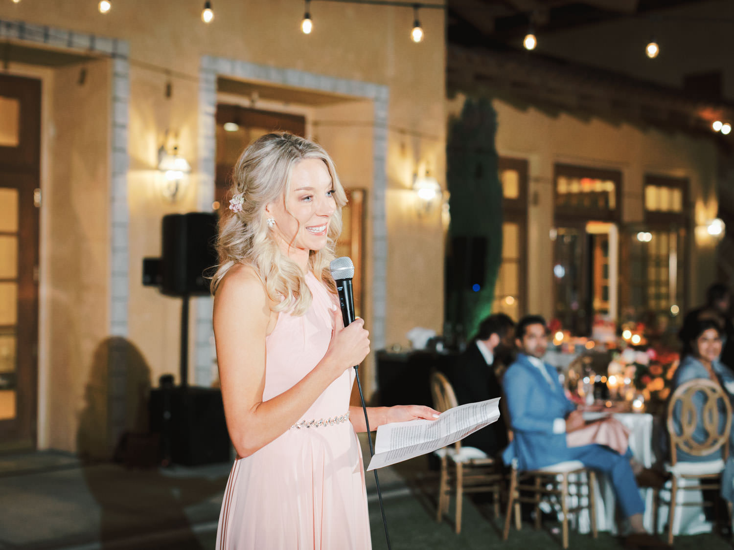 Maid of honor toast. Miramonte Resort wedding reception. Photography by Cavin Elizabeth.