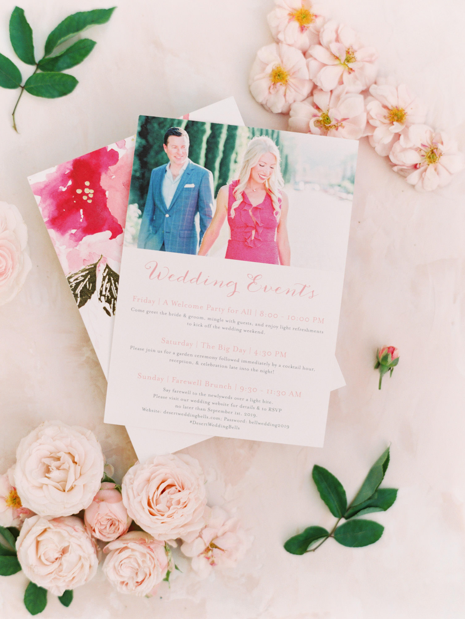 Use your engagement photos on your weekend event card. Cavin Elizabeth Photography