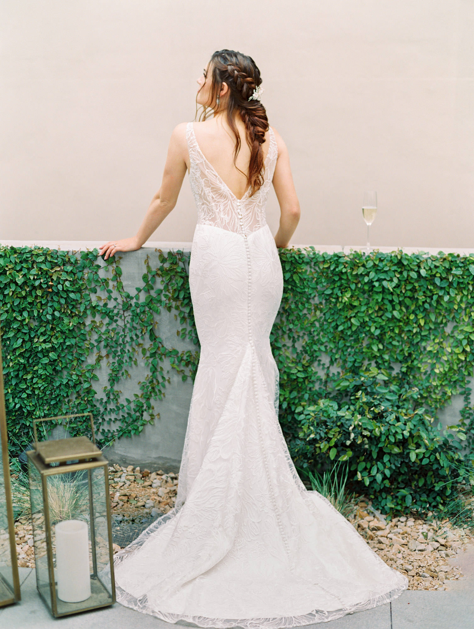 Low v back illusion beaded floral pattern with buttons all the way down the train. Gemma Kelly Faetanini wedding dress in San Diego by Cavin Elizabeth - San Diego film photographer