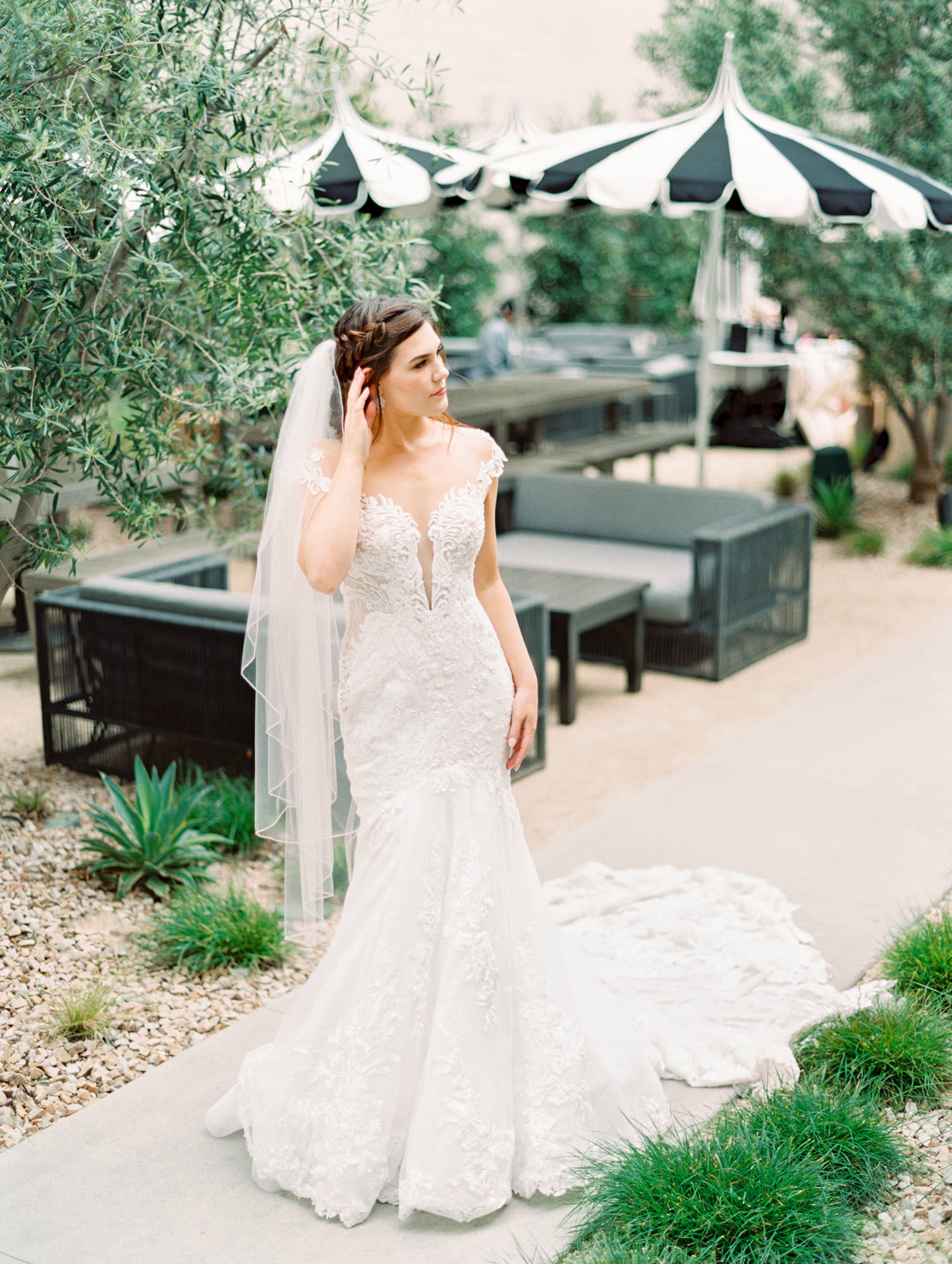 1104 cap sleeve lace dramatic drain with floral lace Martina Liana wedding dress in San Diego by Cavin Elizabeth - San Diego film photographer at The Guild Hotel