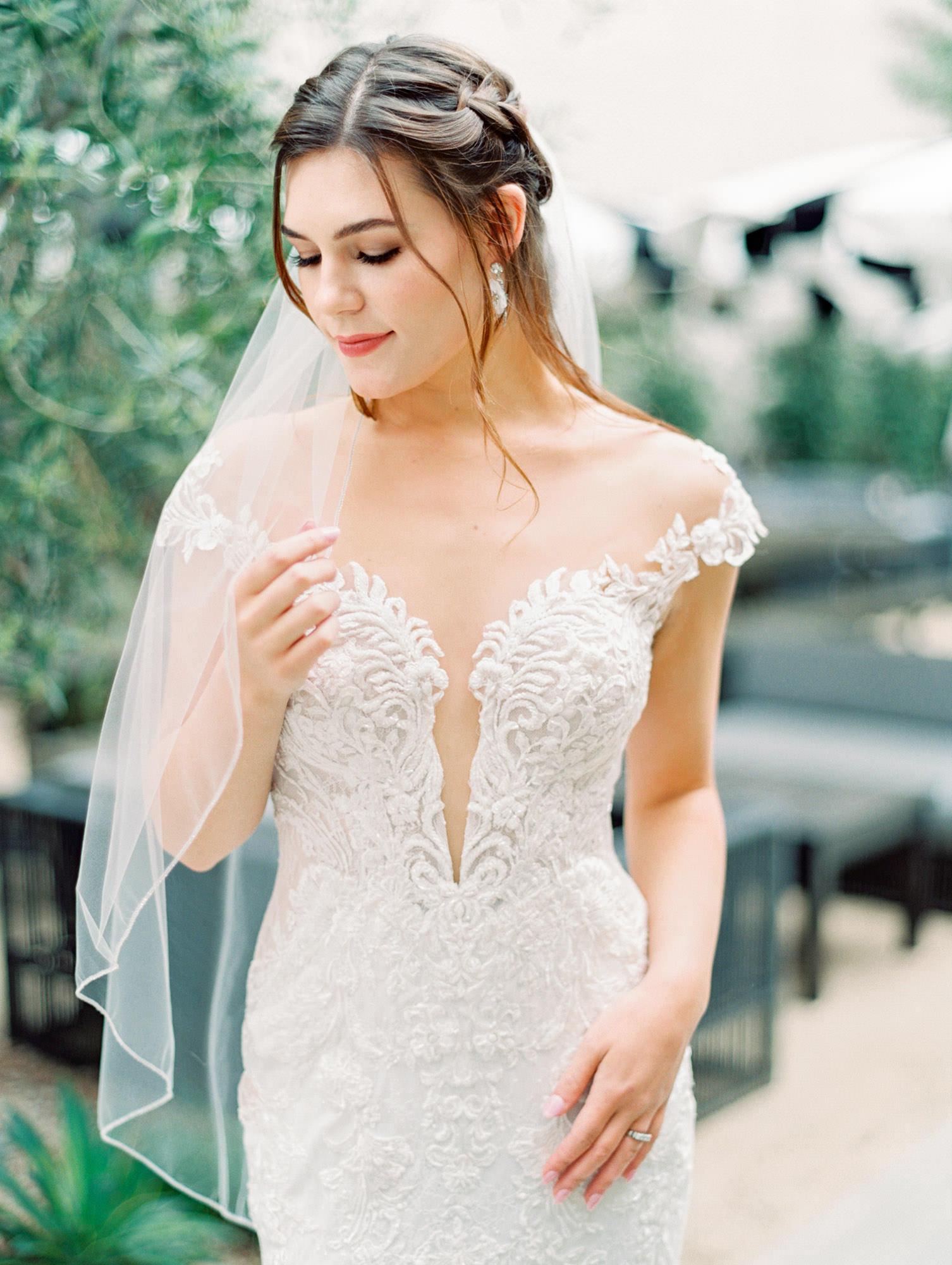 1104 cap sleeve dress with floral lace Martina Liana wedding dress in San Diego by Cavin Elizabeth - San Diego film photographer. Wedding Fashion Inspiration.