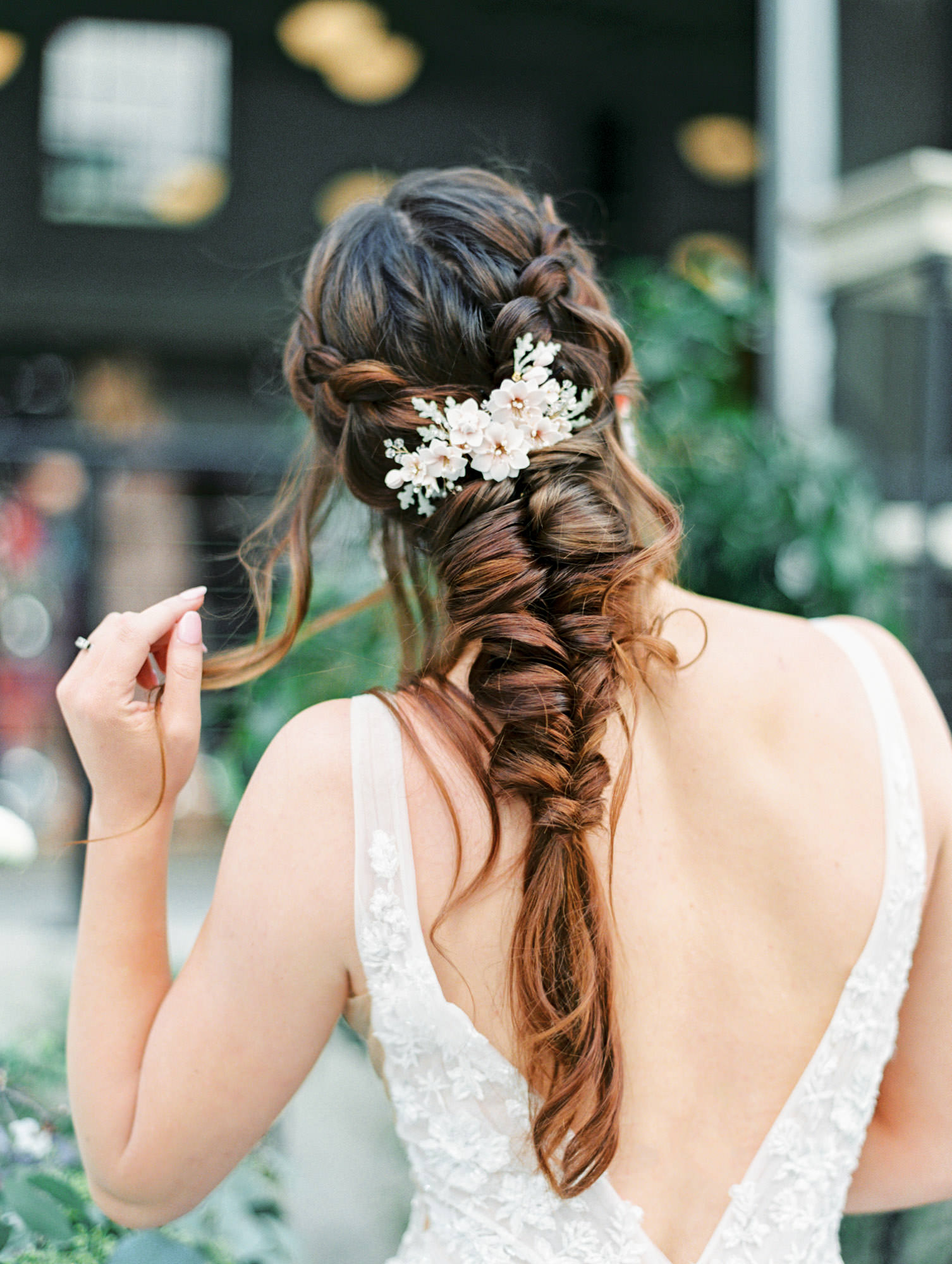 Twigs and Honey blush hair accessory in a large braid. 1105 sleeveless ballgown with floral lace Martina Liana wedding dress in San Diego by Cavin Elizabeth - San Diego film photographer