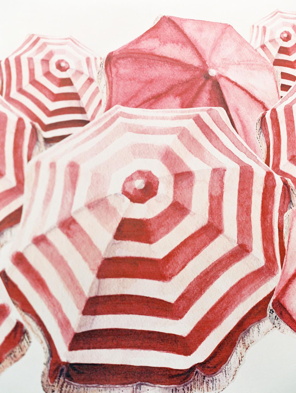 Vintage red and white umbrella wall paintings. Hotel Del Coronado Wedding on film by Cavin Elizabeth.
