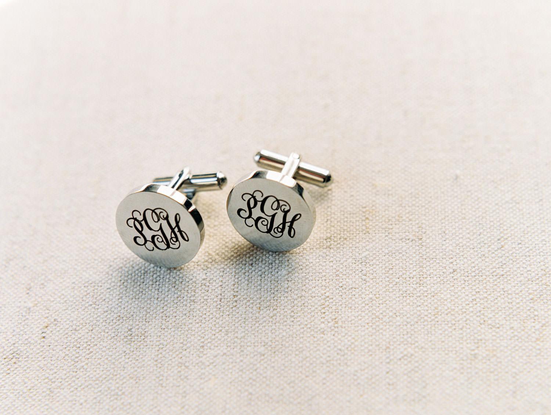 Groom's silver monogram cufflinks. Film by Cavin Elizabeth Photography